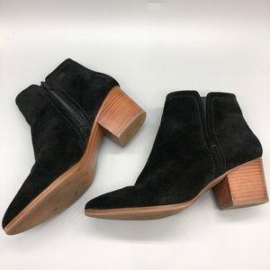 Aldo black suede block wood heel booties